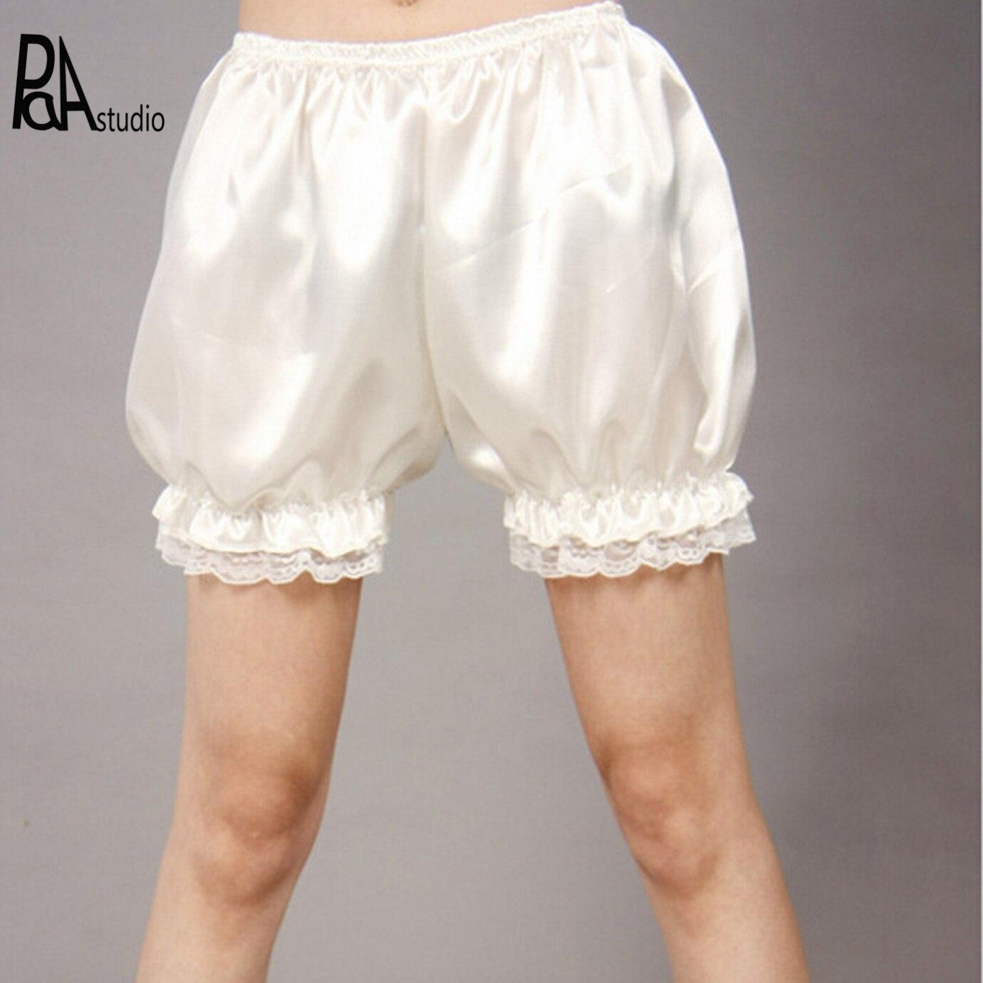 Kawaii Splicing Lace Crochet Ruffles Hem Lolita Satin Silky Silk Pumpkin Bloomers Shorts Sleepwear Under Pants Safety Shorts Шорты