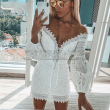 Cuerly 2019 off shoulder lace dress women crochet lace party club mini dress bodcyon autumn hollow out dress vestidos L5 off the shoulder hollow out lace skinny slimming dress