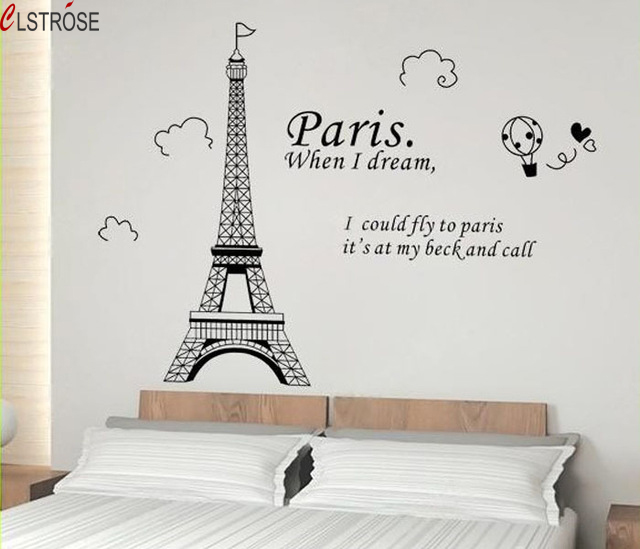 clstrose vinilos paredes paris art tower wall stickers quotes