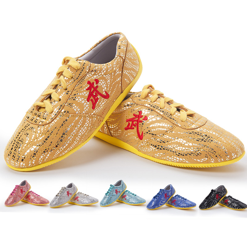 Wushu Tai Chi Shoe,  Soft Tendon At The End Of The Super Fiber Leather  Martial Art Shoes, Children adult kungfu Shoe the ocean at the end of the lane