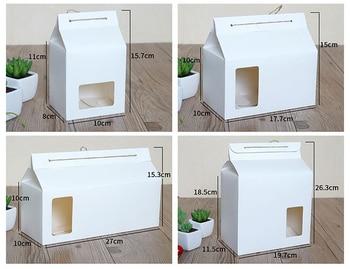Ventana de PVC blanca, bolsa de papel Kraft, caja de mano personalizada para galletas, caja de pastel de azúcar, bolso para merienda con cuerda, 100 unids/lote