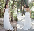 Vestido de Novia 2017 Cream Lace Boho Wedding Dress Cap Sleeves Sheer Long Gypsy Bridal Wedding Gowns Robe de mariage