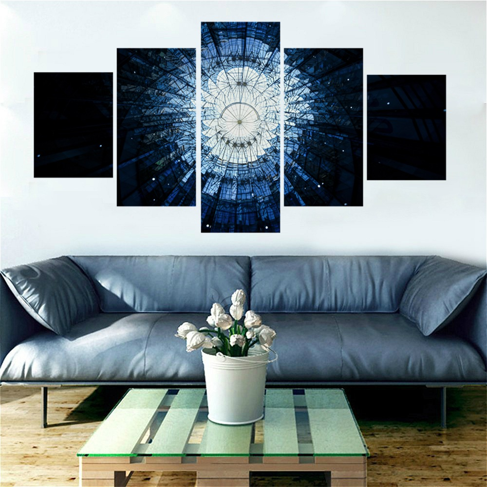 The Broken Blue Glass Window Abstract Landscape Picture for Modern Home Decor Huge Canvas Print Wall Art Painting Artwork Custom in Painting Calligraphy from Home Garden