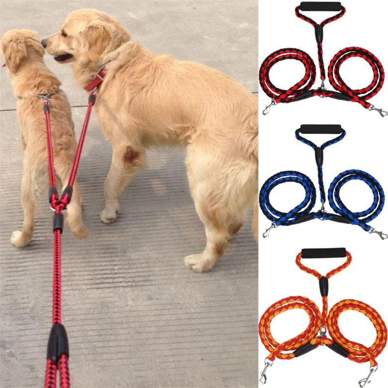 Double Dog collar and Leash set Braided Nylon Led dog collar Coupler For Training Two Dogs Double Headed Traction Rope 2017