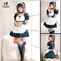 ROLECOS Blue Pink Black Neon Genesis Evangelion EVA Rei Ayanami Anime Maid Cosplay Costumes Dress for women WSJ17