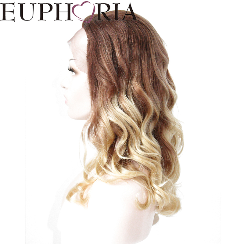 EUPHORIA Human Hair Loose Wave Lace front Wigs 20 Inches Ombre Blonde Brown color 100% Brazilian Remy Hair For Hair Salon