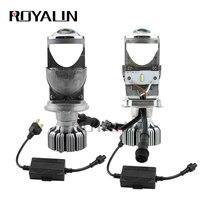 ROYALIN Bi LED H4 9003 Canbus Projector Headlights Car Mini 1.5 Decoder 5500K Lights Lens Universal Auto 90W Headlamp Retrofit