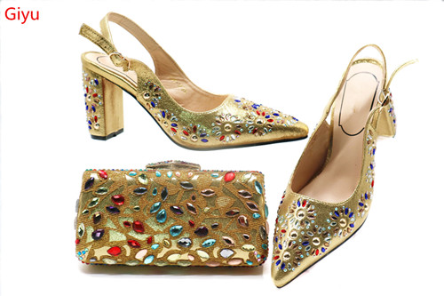Gold-Shoes Matching-Bag Italian African with And Bag-Set for Beautiful Lady HSN1-1