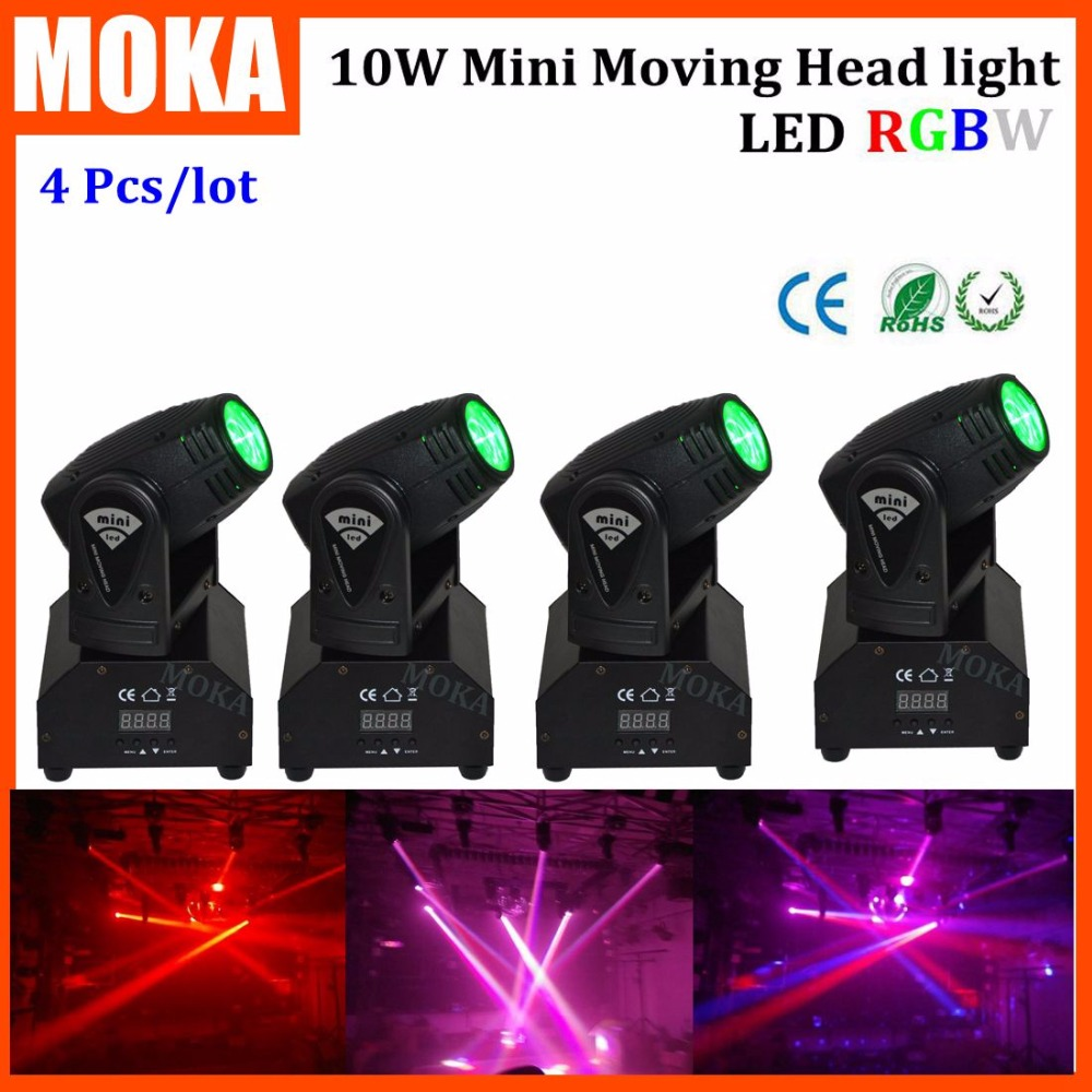 4PCS/LOT Change Color Dimmer Led Spot 10W Head Moving Disco Dj Equipment Professional Lighting Lights Outdoor Show Light 10w disco dj lighting 10w led spot gobo moving head dmx effect stage light holiday lights