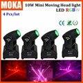 4PCS/LOT Change Color Dimmer Led Spot 10W Head Moving Disco Dj Equipment Professional Lighting Lights Outdoor Show Light