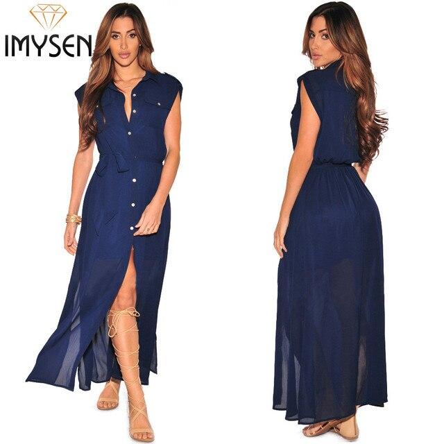 IMYSEN 2017 Summer Blouse Gauze Dress Women New Clothing Fashion Tops Blue X-long Dress Sexy Ladies Loose Split Chiffon Dresses