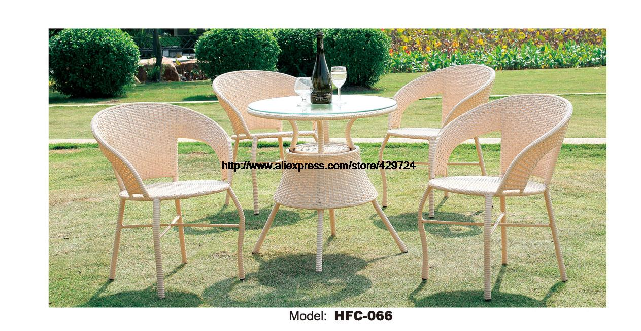 Promotion modern beige rattan furniture wicker garden set table 4 chair leisure outdoor balcony courtyard small yard furniture in garden sets from furniture