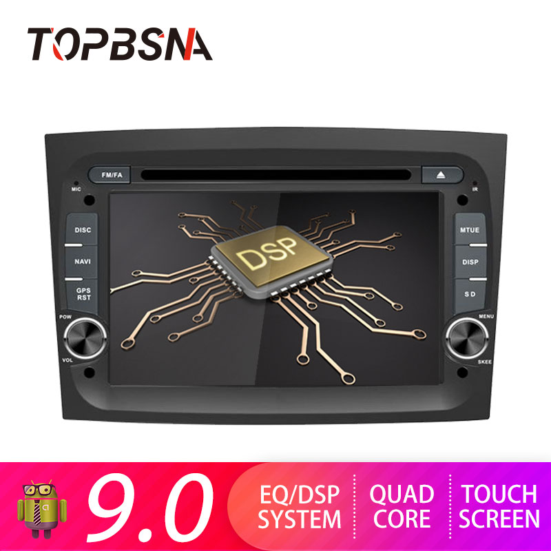 TOPBSNA 1 din Android 9.0 Car DVD Player For Fiat Doblo 2015 2016 GPS Navigation System Media Radio Stereo USB WIFI 2G+16G Audio