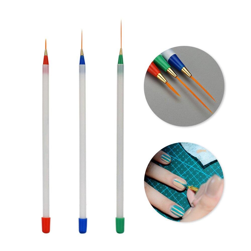 3pcs Manicure Brush Set Nail Art Brush Thin Liner Drawing Pen Painting Stripes Flower Nail Art Manicure Tools