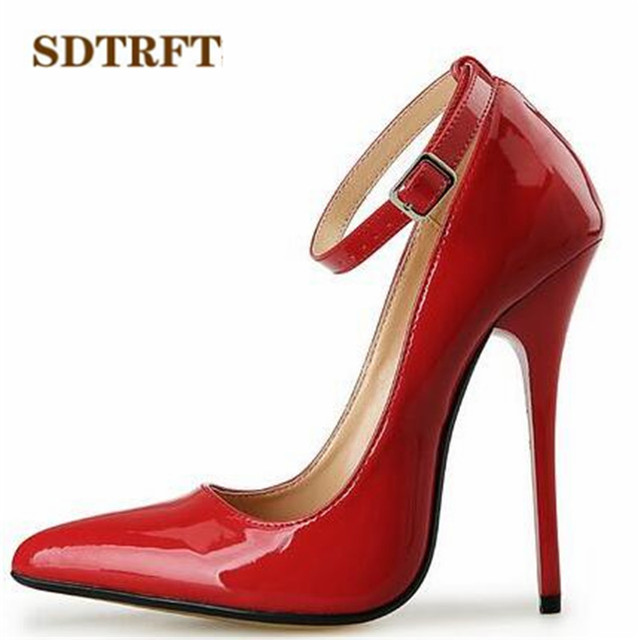 SDTRFT US9 14 15 16 17 18 Spring Gold Bottoms Patent Leather shoes Red Ankle Strap Pointed Toe Wedding pumps Crossdresser Mujer