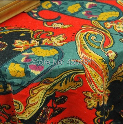 100*145cm Paisley Print Fabric Linen Cotton Indian Ethnic Tablecloth  Curtains Garments Material Tecido Telas