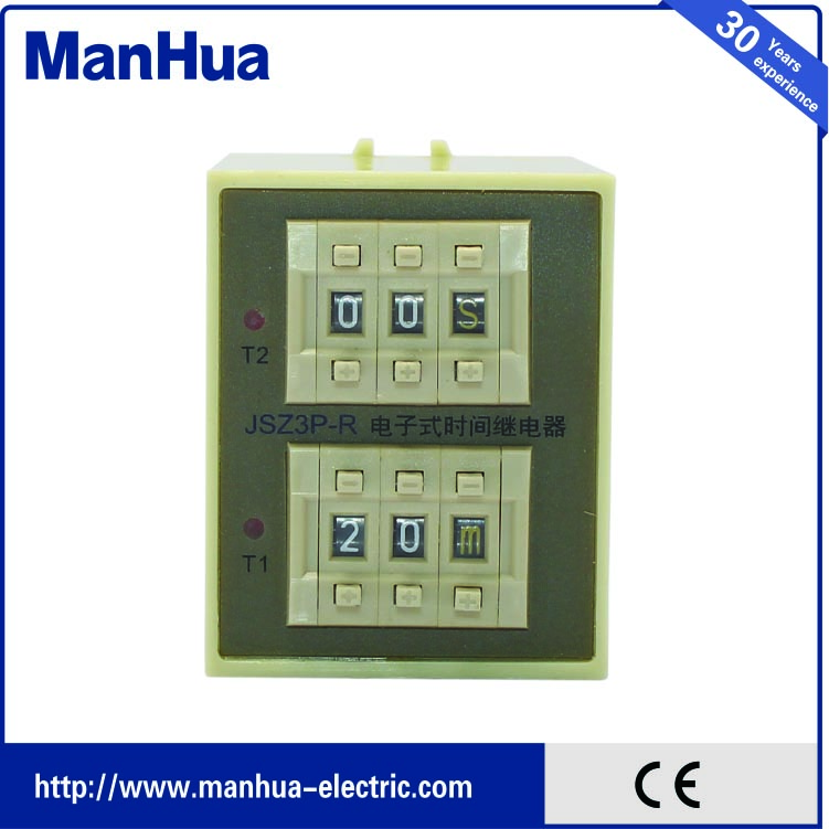 цена на Manhua populary AC220V 3A Cycle Delay time switch Single Phase Timer Relay JSZ3P-R voltage relay solid state relay voltage