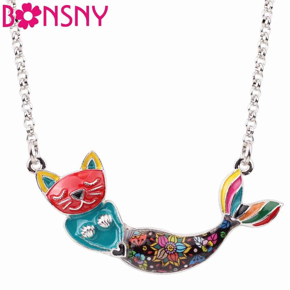 Bonsny Enamel โลหะแมวแมว Mermaid สร้อยคอจี้ Choker Chain Collar Elegant เครื่องประดับสำหรับผู้หญิงของขวัญเดิม