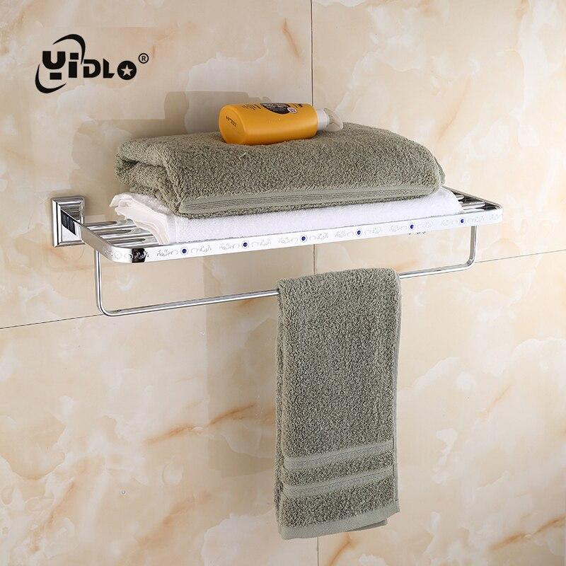 Serviette de salle de bain Double étagère en argent Multi pôle solide et support suspendu mur intégré salle de bains salle de bain porte-serviettes