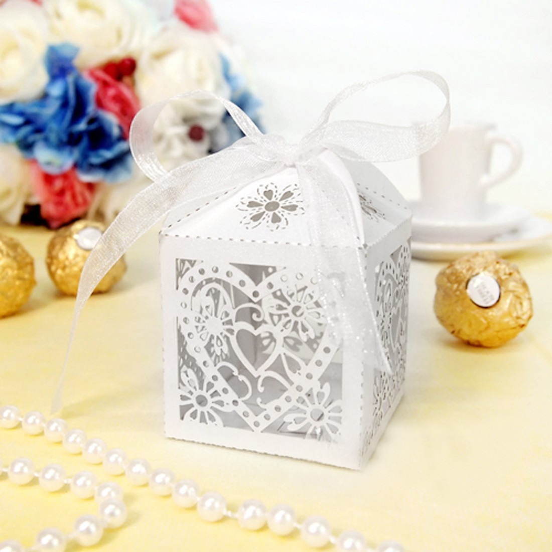Low sale 10pcs/Set Love Heart Party Wedding Hollow Candy Boxes ...