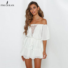 PinkyIsBlack Sexy Off Shoulder Lace Up Women Bohemian White Sexy Playsuits 2019 Summer Beach Romper Sash Overalls Jumpsuits цена