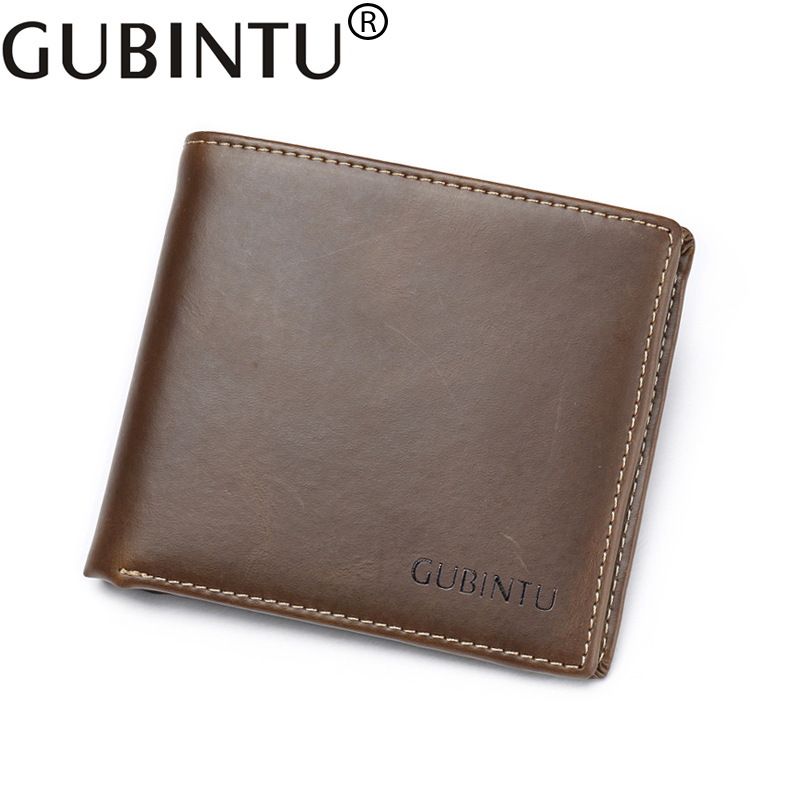 GUBINTU Wallet for Men Genuine Cow Leather High Quality New Cowhide Purse Trifold Designer Business Card Holder Male mlb baltimore orioles embossed genuine cowhide leather trifold wallet