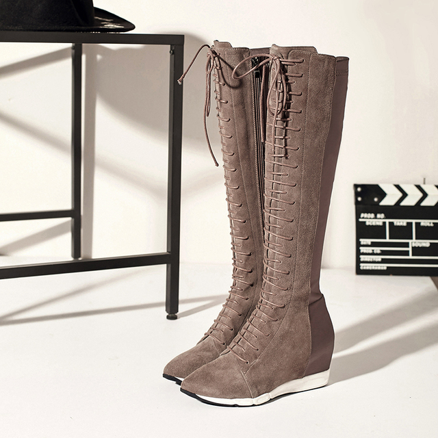 Women's Wedge Pointed Toe Genuine Leather Lace-up Knee High Boots Brand  Designer Stretch Patchwork