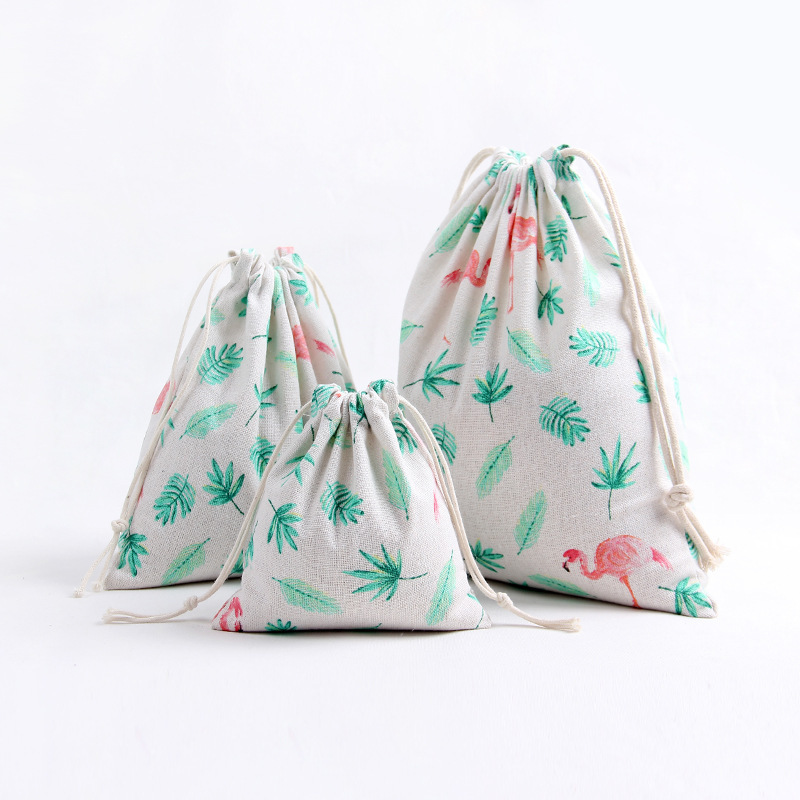YILE 1pc Cotton Linen Drawstring Party Gift Bag Multi-purpose Pouch Print Flamingo Leaf Size-choosing 8129h