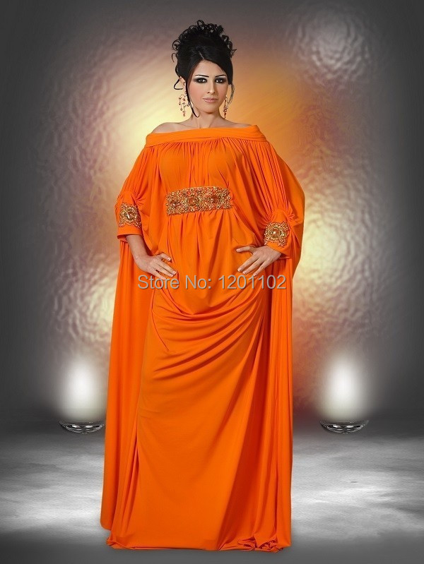 f6ca541955e60 2015 New Design Dubai Kaftan Abaya Plus Size Flowing A Line Off The Shoulder  Orange Formal Evening Dress Vestidos De Fiesta 2015-in Evening Dresses from  ...