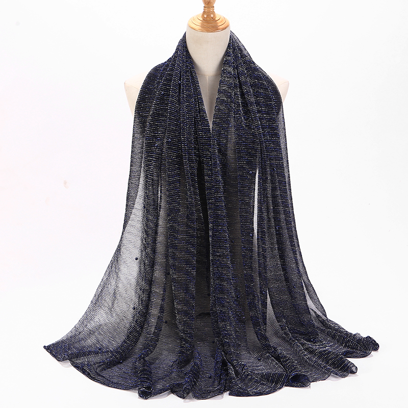Image 5 - NEW shimmer veils hijab scarf shiny pearls beaded crinkle shawl  fashion muslim hijabs women maxi scarves shawls islamic scarfWomens  Scarves
