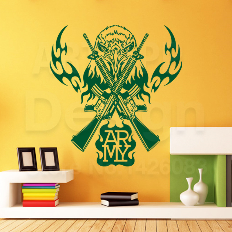 New art design owl home decoration vinyl weapon gun cheap wall ...