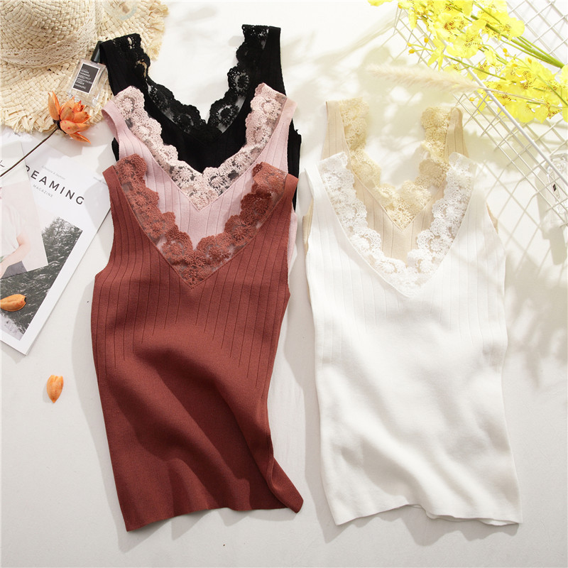 Summer Women Knitting Solid Camis Tops Sleeveless Tee Shirts Girls Sexy Sweet Tops Tanks Knitwear Patch Lace V-neck
