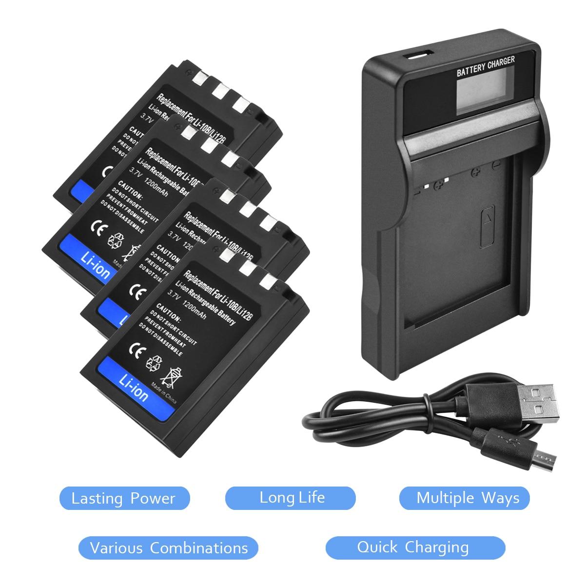 4X Li-10B Li10B Li 10B Li-12B Li12B Li 12B Batterie + 1 Port Batterie Chargeur LED pour Olympus FE-200 IR-500 x-1 X-2 X-3 C-760 L15
