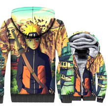 HAMPSON LANQE Uzumaki Naruto 3D Hoodies Sweatshirts Men 2019 Winter Warm Fleece Jackets Plus Size Mens Coat Casual Hooded M-5XL