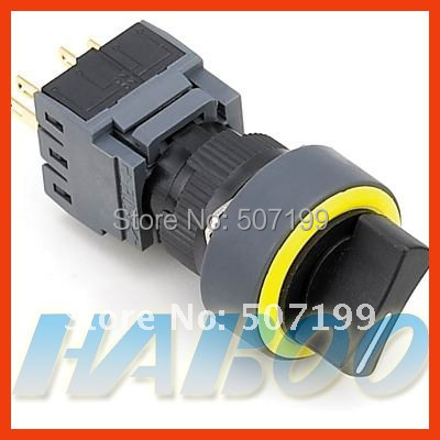 10pcs/lot 16mm HABOO waterproof IP65 2position selector push button switch 3NO+3NC 5A/250VAC
