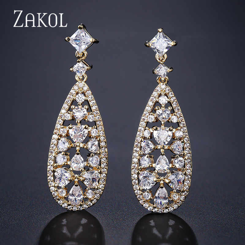 ZAKOL Brand Hot Selling Luxury Drop Earrings Withe Stones for Women Cubic Zircon Wedding Bridal Dinner Brincos Jewelry FSEP2105