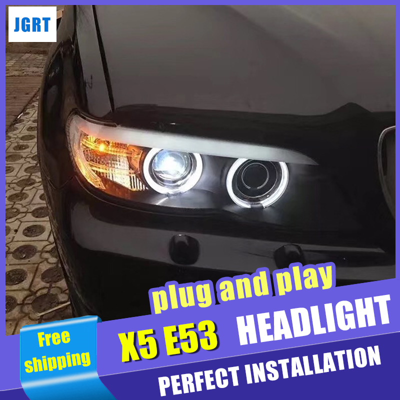 New Car Styling for BMW X5 E53 Headlights 2004-2006 for BMW X5 Head Lamp Auto LED DRL Double Beam H7 HID Xenon bi xenon lens for bmw e53 x5 2004 2006 4dr lci facelift car front grille grills car styling covers grilles