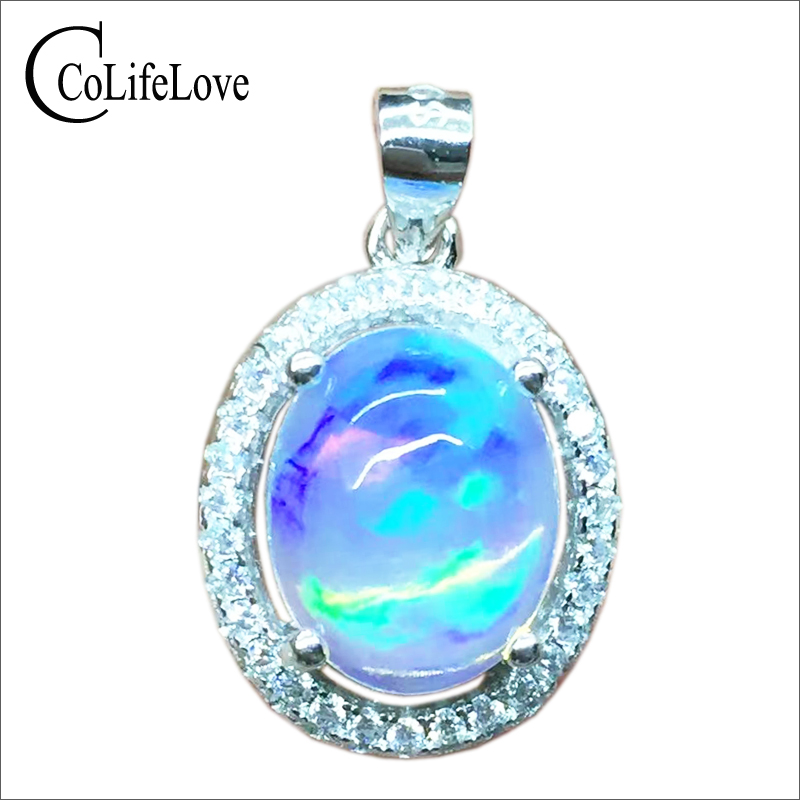 Luxurious silver opal pendant 2ct 8*10mm natural opal gemstone necklace pendant solid 925 silver opal jewelry romantic gift
