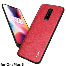 MOFi Original Back Case for OnePlus 6 Hard Cover for 1+6 PU Leather Coque for One Plus 6 Business Litchi Full Protection Bumper