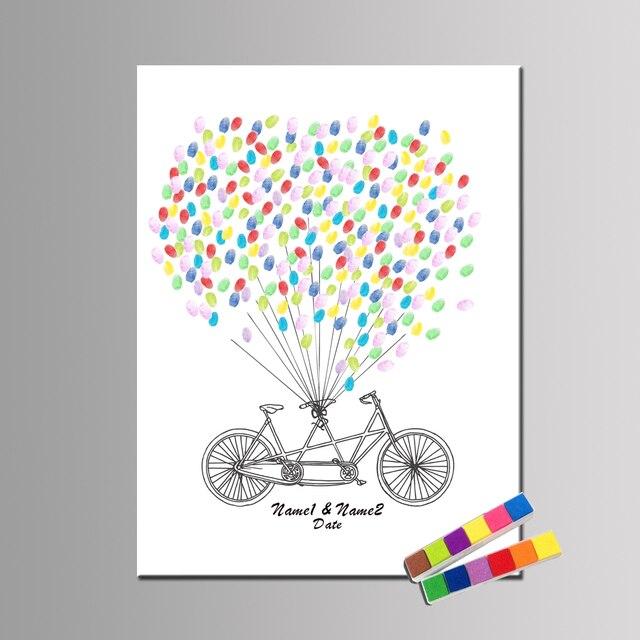 haochu canvas romantic wedding fingerprint guest book tandem bike thumbprint wedding tree birthday party keepsake balloon