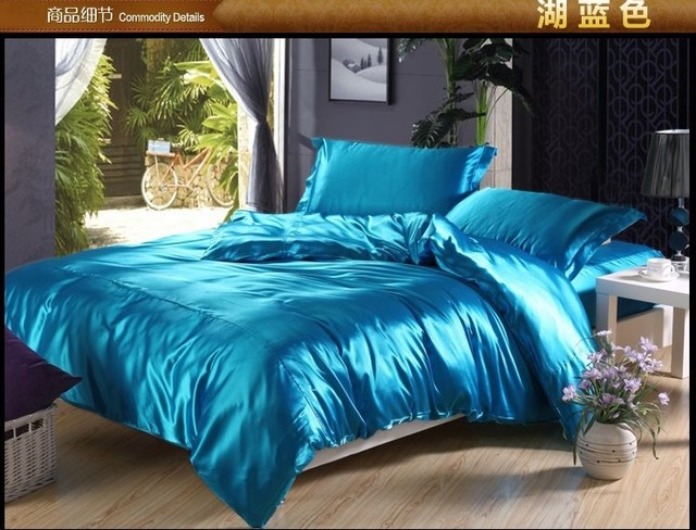 Luxury Lake Blue Silk Bedding Set Satin Sheets Super King Queen Full Size  Double Quilt Duvet