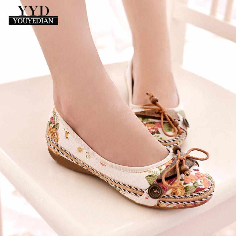 YOUYEDIAN Fashion Nude With Vintage Famous Embroidery Leisure Women Embroidered Shoes femme plateforme  #A25