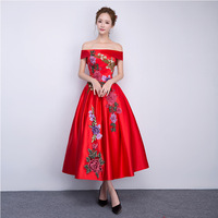 Red Embroidery Dress Women Vestidos Sexy Bride Party Dresses Off The Shoulder Evening Gown Maxi Plus Size Robe Longue Femme