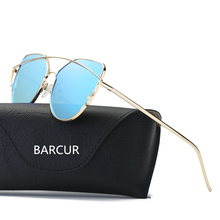 45198f4dfe BARCUR Trend 2017 Luxury Italy Brand Cat Eye Sunglasses Lady Designer Pink  Sunglasses UV400 gogle Metal
