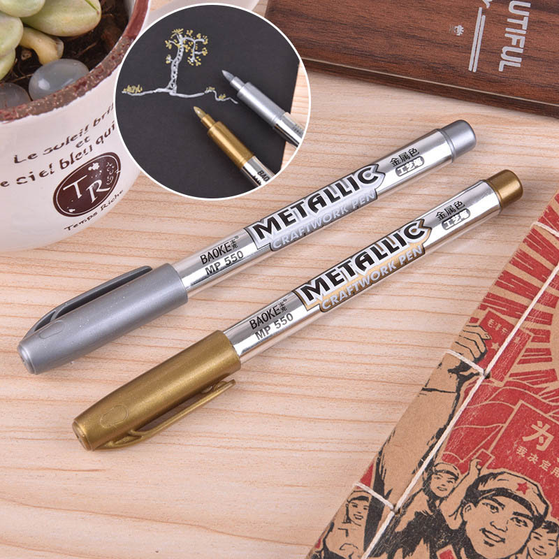 1.5mm DIY Metal Waterproof Permanent Paint Marker Pens Gold And Silver Marker Craftwork Pens For Drawing School Supplies