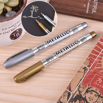 1 5mm DIY metalowe wodoodporne markery permanentne złote i srebrne markery rękodzieło długopisy do rysowania przyborów szkolnych tanie i dobre opinie Moonovol Olej Stałe Papier Okrągły nosek 100007514 100007514