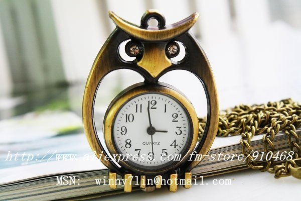 free shipping Fashion Vintage bronze owl pocket watch necklace gift watch
