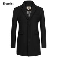 E-artista Longos Casacos De Lã dos homens Slim Fit Business Casual Masculino Inverno Quente Jaquetas Peacoats Casacos Sobretudos Plus tamanho 5XL N32