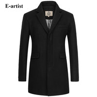 E Artist Men S Slim Fit Business Casual Long Wool Coats Male Warm Winter Jackets Peacoats