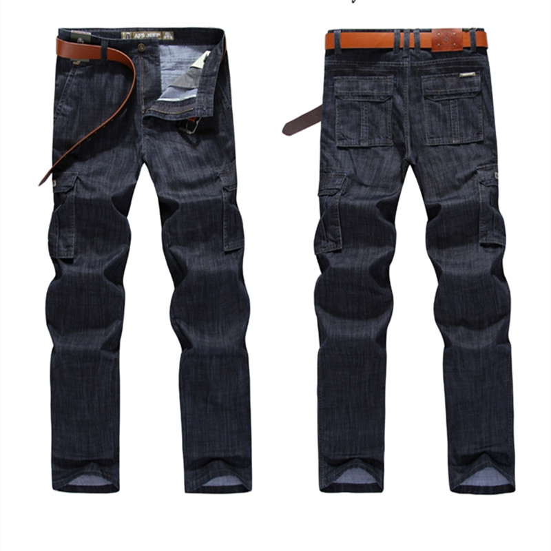 Male Clothes Streetwear Casual Trousers 2018 Men Jean Big Size 2018 High Quality Pants Homme Casual Military Multi-pocket Jeans